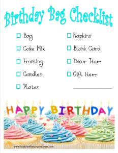 Birthday Bag Checklist